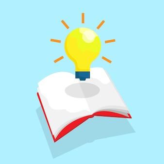 Crescita della lampadina dell'educazione della conoscenza dal design piatto dell'illustrazione vettoriale del libro aperto