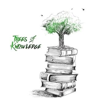La conoscenza sta crescendo come l'illustrazione disegnata a mano di vettore di schizzo dell'albero