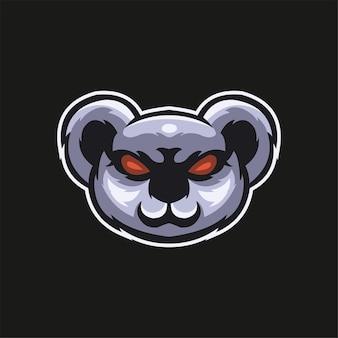 Illustrazione del modello di logo del fumetto della testa di animale del koala esport logo gaming premium vector