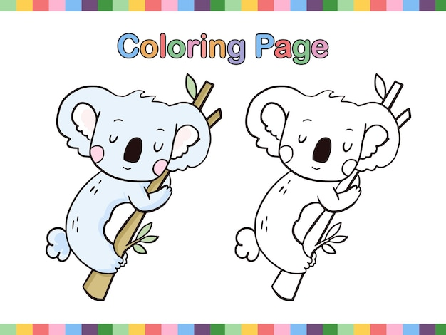 Koala cartoon line art da colorare pagina libro per bambini