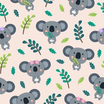 Modello senza cuciture del fumetto sveglio del koala con le foglie