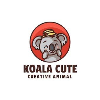 Modello di logo di koala carino mascotte stile cartone animato