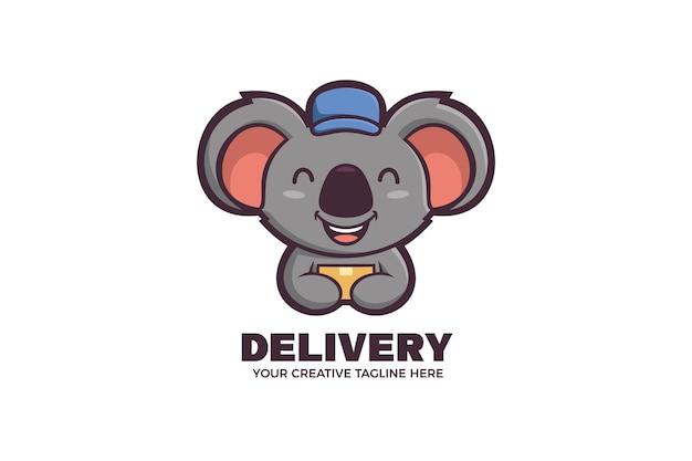 Modello di logo del personaggio della mascotte del corriere delle consegne di koala
