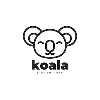 Koala geometrica monoline semplice lusso logo design