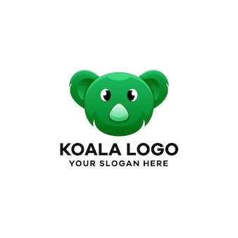 Modello di logo sfumato koala