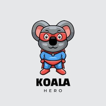 Koala hero personaggio dei cartoni animati logo design creativo
