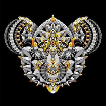 Koala mandala zentangle illustrazione e design tshirt premium