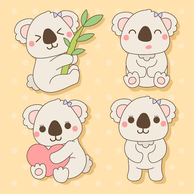 Koala - set di simpatici animali kawaii charactor illustrazione