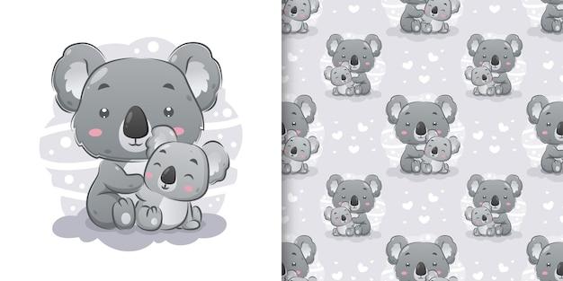 Il koala seduto e in posa vicino al cucciolo di koala nel set di pattern di illustrazione