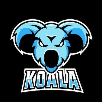 Logo della mascotte del gioco koala sport ed esport