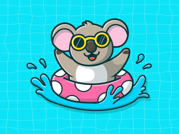 Koala nuoto sulla spiaggia