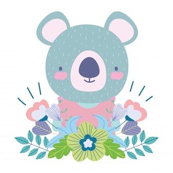 Koala con natura di simpatici animali personaggi dei cartoni animati decorazione fiori foglie