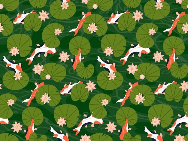 Pesci carpa koi sotto foglie di loto verde modello senza cuciture molti pesci rossi nuotano nello stagno d'acqua