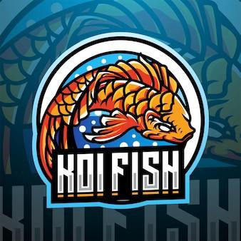 Design del logo della mascotte dell'esportazione di pesci koi