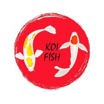 Disegno dell'etichetta di pesce koi con effetto grunge