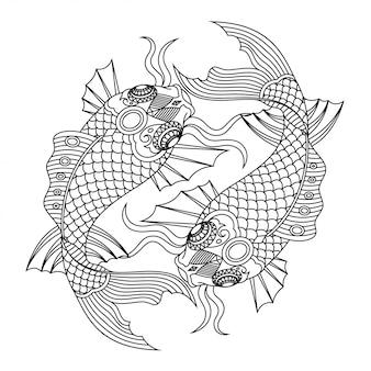 Koi fish mandala zentangle lineal style