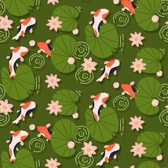 Pesci koi che nuotano sotto il loto rosa senza cuciture estate sfondo orientale piatto disegnato a mano