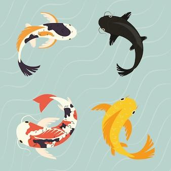 Icona di pesci koi impostata sull'acqua