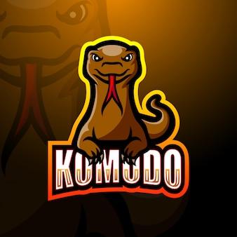 Illustrazione di logo di esportazione di mascotte di komodo
