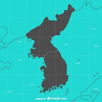Corea mappa vettoriale
