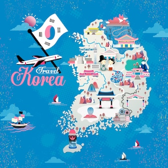 Progettazione della mappa di viaggio della corea con attrazioni