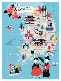 Mappa di viaggio della corea, attrazioni e specialità della corea in stile adorabile per i viaggiatori