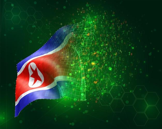 Corea, bandiera 3d vettoriale su sfondo verde con poligoni e numeri di dati