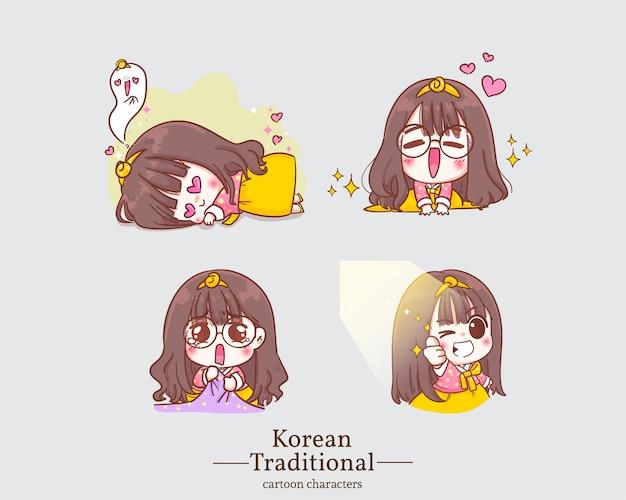 Ragazze carine felici di carattere coreano nei cartoni animati tradizionali coreani del vestito da hanbok. imposta illustrazione