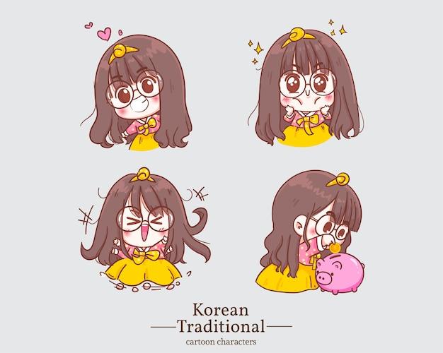 Personaggi coreani di ragazze carine felici nei cartoni animati tradizionali del vestito hanbok coreano. imposta illustrazione
