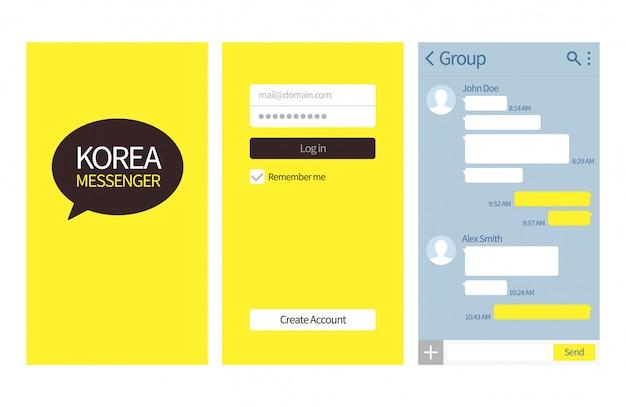 Messenger coreano. interfaccia di conversazione kakao con caselle di chat, elenco contatti e modello di messaggio vettoriale icone