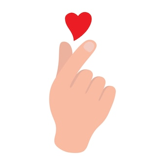 Cuore della mano simbolo coreano, un messaggio di gesto d'amore con la mano.