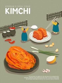Cibo tradizionale coreano kimchi e ingredienti kimchi