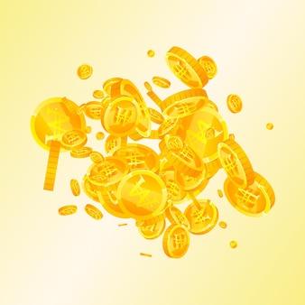 Monete vinte coreane che cadono. incredibili monete won sparse. soldi della corea. splendido jackpot, ricchezza o concetto di successo. illustrazione vettoriale.