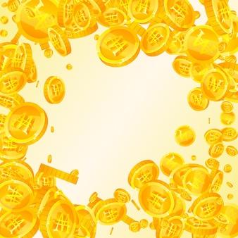 Monete vinte coreane che cadono. monete won sparse favolose. soldi della corea. jackpot sublime, ricchezza o concetto di successo. illustrazione vettoriale.