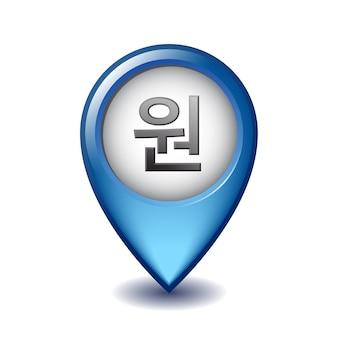 Simbolo locale vinto coreano sull'icona marcatore di mappatura. illustrazione del segno di valuta della corea sul puntatore della mappa.