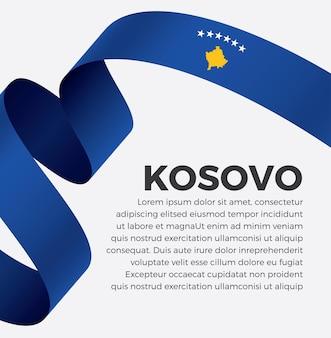 Illustrazione vettoriale di bandiera del nastro del kosovo su uno sfondo bianco vettore premium