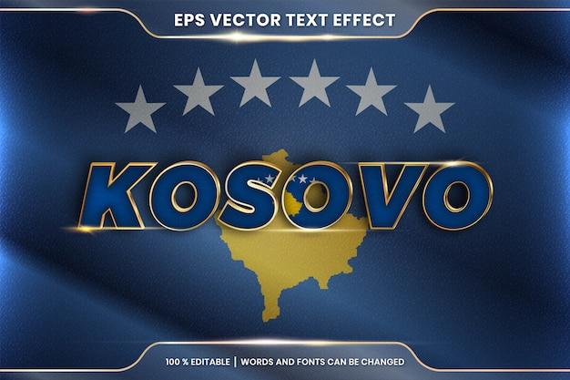 Kosovo con la sua bandiera nazionale del paese, stile di effetto testo modificabile con concetto di colore oro sfumato