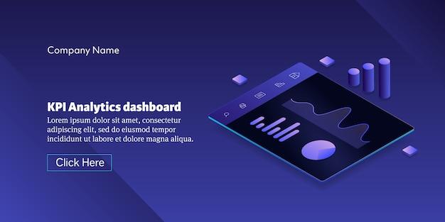 Concetto del dashboard di kpi analytics