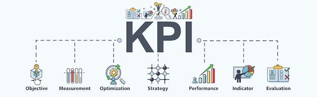 Kpi banner web icon per il business. Vettore Premium