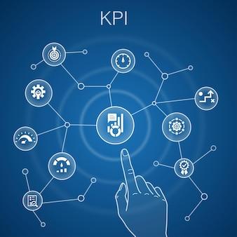 Kpi concetto, sfondo blu. ottimizzazione, obiettivo, misurazione, icone indicatore