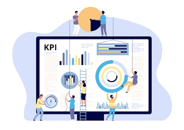 Concetto kpi. indicatore chiave di performance marketing, metrica digitale aziendale.