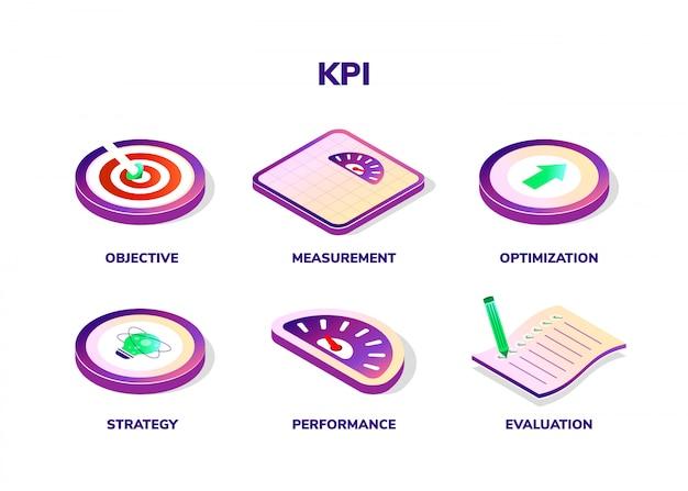 Concetto di kpi con icone isometriche. indicatore di prestazioni chiave.