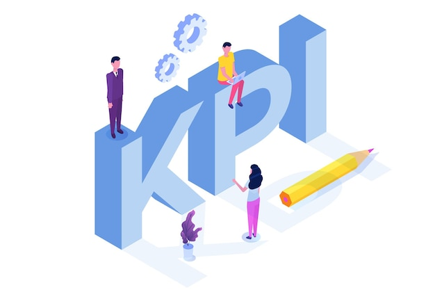 Kpi, indicatore di prestazioni chiave, concetto isometrico di consulenza aziendale.