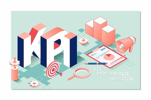 Kpi, concetto di business 3d isometrico indicatore chiave delle prestazioni