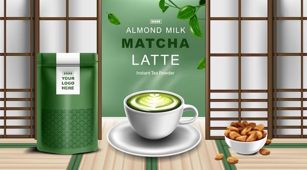 Sacchetto di carta kraft con chiusura a zip sacchetto stand up per alimenti con tazza di latte per tè verde e latte di mandorla Vettore Premium