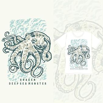 Il design della maglietta vintage del mostro del mare profondo kraken