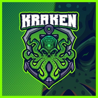 Kraken mascotte esport logo design illustrazioni