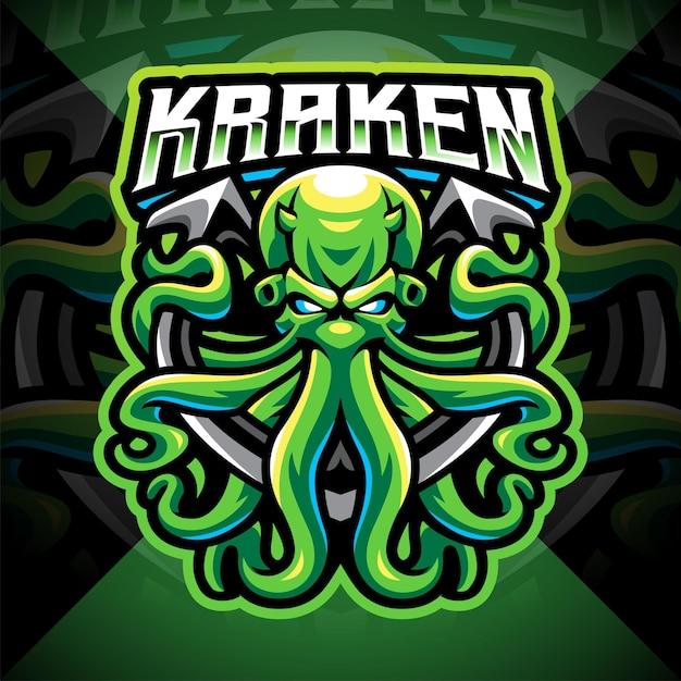 Kraken polpo esport logo mascotte design