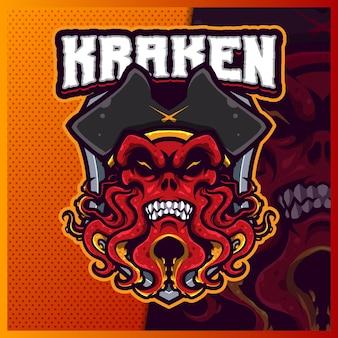 Illustrazioni di design del logo esport della mascotte dei pirati kraken