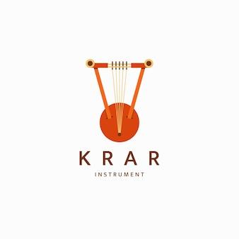 Krar tradizionale strumento musicale etiope logo icona modello di progettazione piatto vector